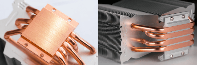 Illustrates the two options for mounting heat pipes to the heat source